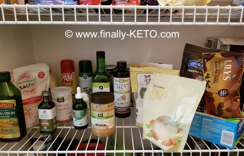 Pantry shelves stocked with Keto-friendly must-haves