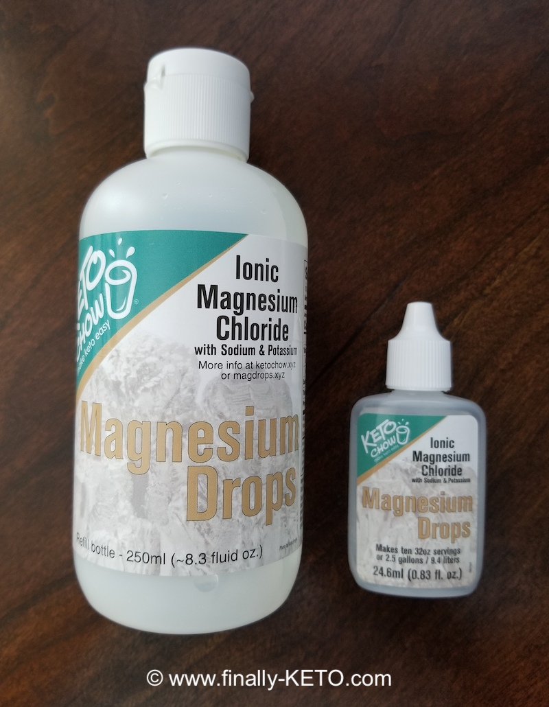Keto Chow Magnesium Drops 8.3 oz bottle with small squirt bottle