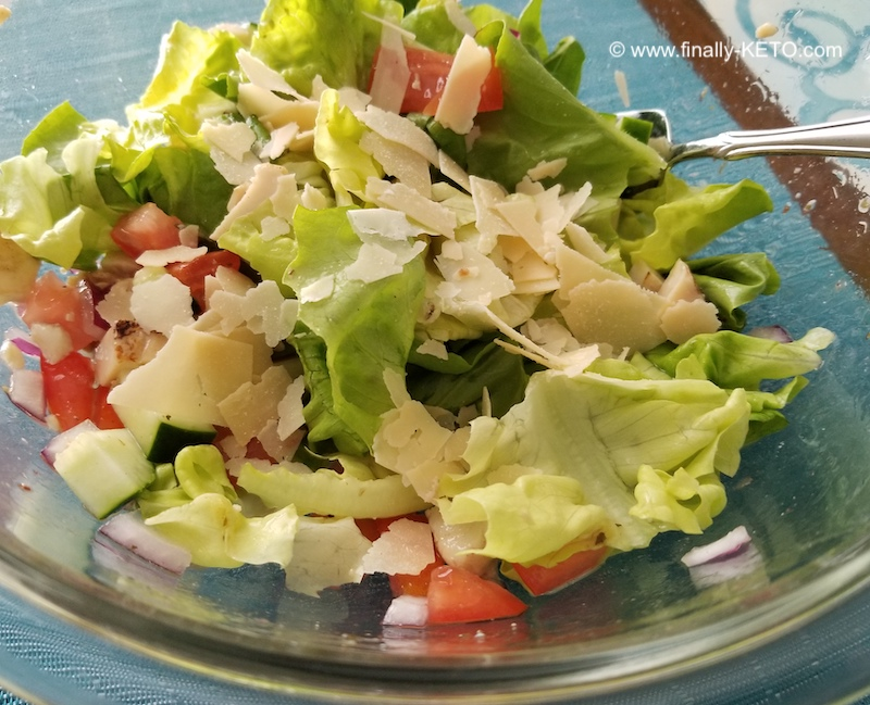 Boston Lettuce Salad with diced Chicken and Cucumber, Tomato, Red Onion and Asiago Cheese with 3 Zeros Italian-style Dressing