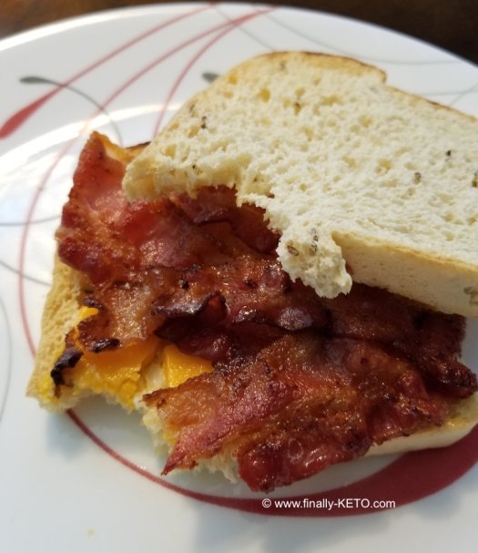 Bacon and Cheese on Rye bread from ThinSlim Foods