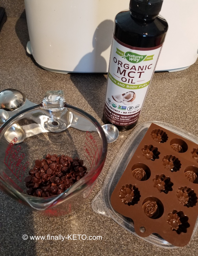 Lily's Stevia-Sweetened Dark Chocolate Chips, Nature's Way MCT Oil and chocolate mold