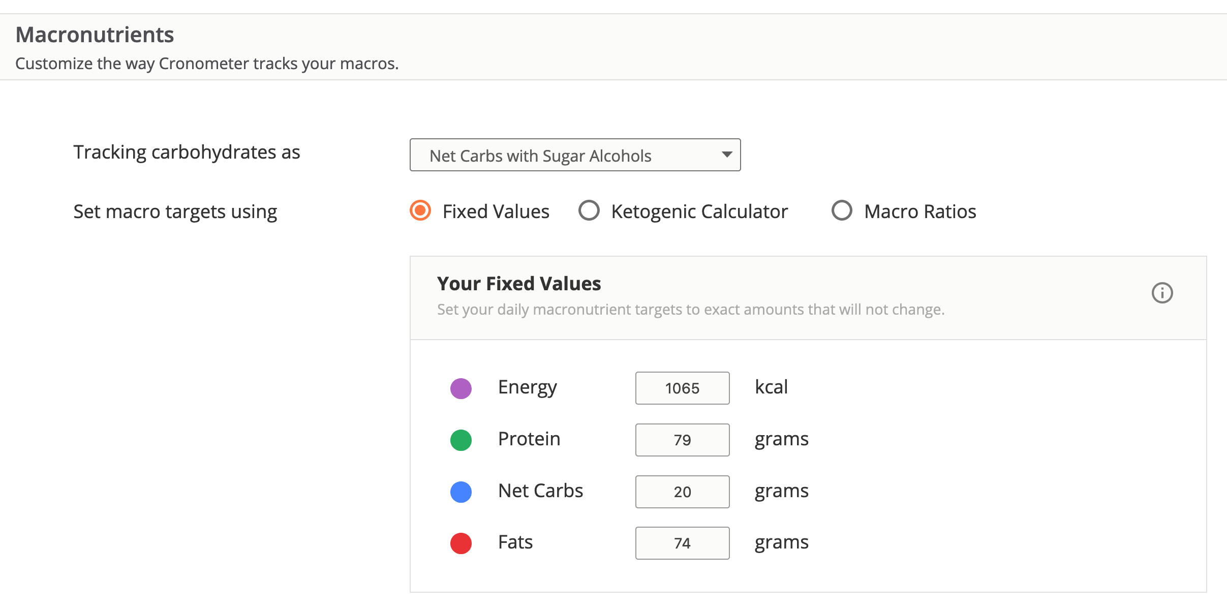 Cronometer - Macro Nutrients for a Keto Diet