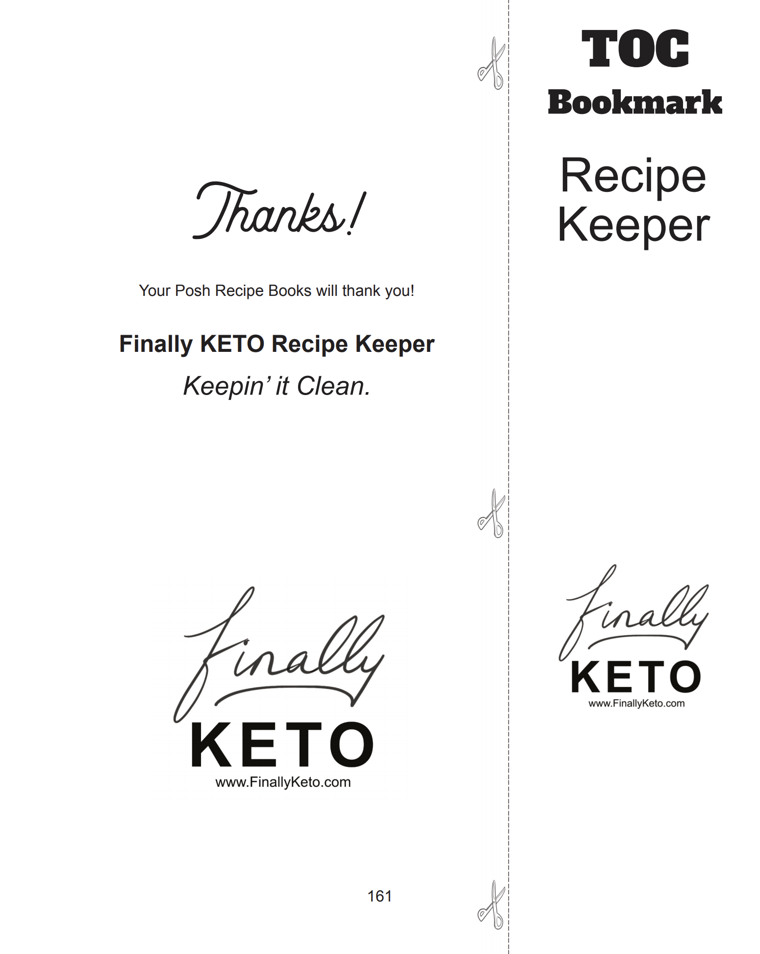Finally Keto Recipe Keeper free bookmarks in paperback book!