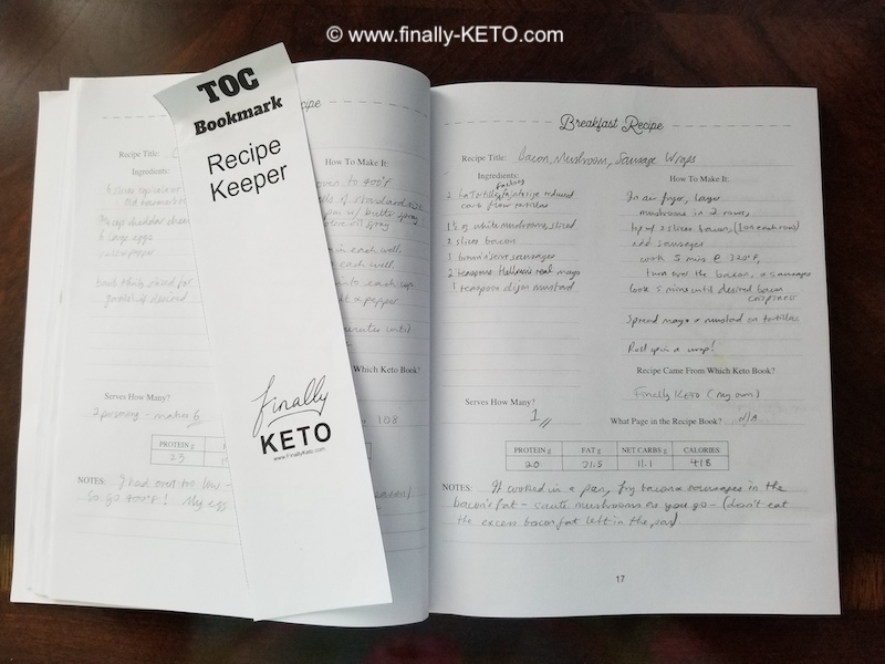 Finally-KETO Recipe Keeper filled in recipe example