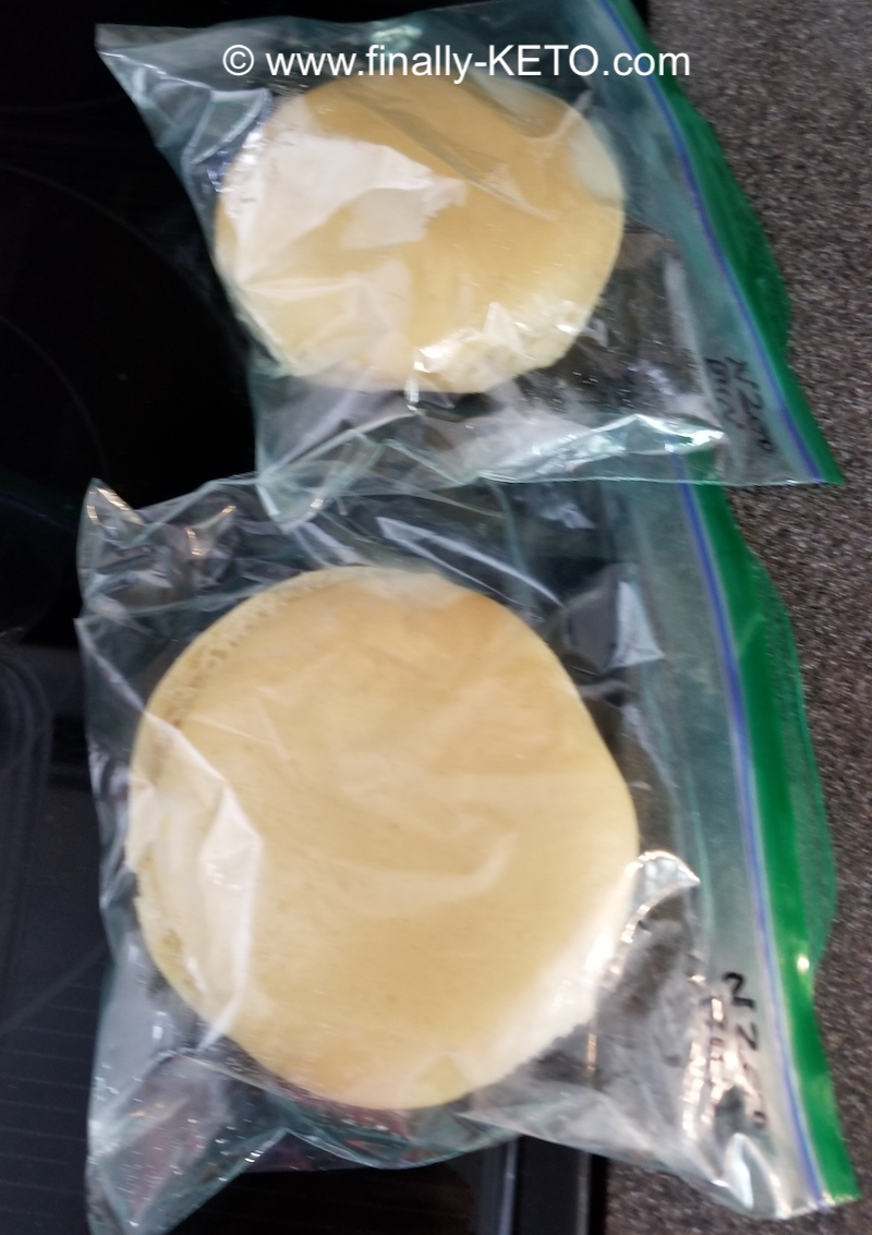 Two ThinSlim Foods Hamburger buns in Ziploc bags that were taken out of my freezer to thaw