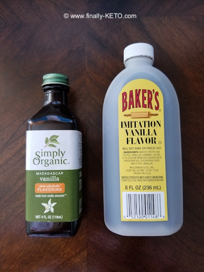 Vanilla Organic Extract by Simply Organic, and Imitation Vanilla Flavor by Baker's