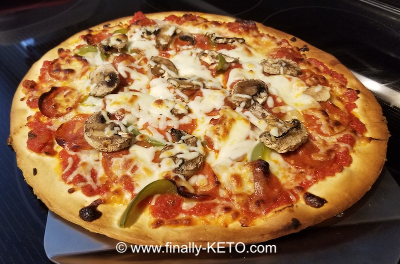 Keto Pizza with Onion, Green Pepper, Mozzarella Cheese, Pepperoni and special crust